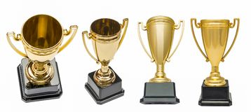 Winners gold cups. Set of golden bowls champion award trophy. Isolated on white Royalty Free Stock Photos