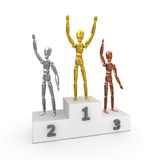 Winners in Gold,Silver,Bronze Royalty Free Stock Images