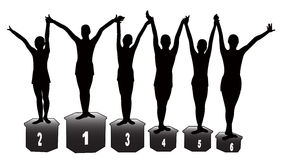 The winners at gymnastics. Six sport-girls silhouette vector Royalty Free Stock Photo