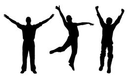 Winners and happy men. Silhouettes of winners and happy men. Isolated white background. EPS file available Royalty Free Stock Images