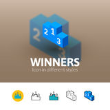 Winners icon in different style. Winners color icon, vector symbol in flat, outline and isometric style isolated on blur background Stock Photos