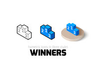 Winners icon in different style. Winners icon, vector symbol in flat, outline and isometric style Royalty Free Stock Photo