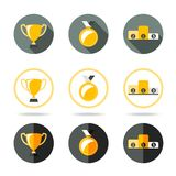 Winners icons set - Cup, Medal and pedestal Stock Photos