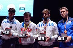 Winners of International fencing tournament St. Petersburg Foil 2015 Royalty Free Stock Photos