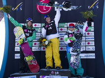 Winners ladies. Winners of ladies of World Cup snowboard Half Pipe in Valmalenco Italy sunday, March 14, 2010 First Holly Crawford (Australia) Second Ursina royalty free stock images