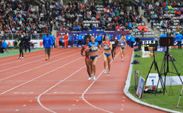 Winners of 800 meters on DecaNation Games. Nataliia Lupu and Chanelle Price run 800 meters on DecaNation International Outdoor Games on September 13, 2015 in Stock Photography