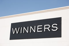 Winners Outlet Sign. TRURO, CANADA - JANUARY 23, 2015: Winners is a Canadian department store chain, founded in 1982, which offers clothing, bedding, jewellery stock image