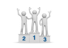 Winners on pedestal Royalty Free Stock Images