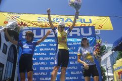 Winners on the podium. At professional bicycling race royalty free stock images