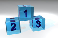 Winners Podium. 3d drendered podium, made of glass. Solid numbers inside cubes Stock Photography