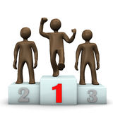 Winners' podium with brown figures Royalty Free Stock Image
