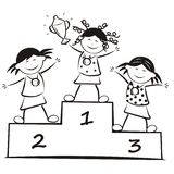 Winners on the podium, coloring book Royalty Free Stock Photo