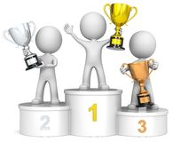 Winners podium. The dude 3D characters on winners podium holding trophies Royalty Free Stock Image