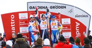 Winners Podium - Fis World Cup. The winner: Werner Heel (Italy), the second: Didier Defago (Switzerland), the third: Patrik Jaerbyn (Sweden) - Val Gardena Grö royalty free stock photography