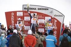 Winners Podium - Fis World Cup. The winner: Werner Heel (Italy), the second: Didier Defago (Switzerland), the third: Patrik Jaerbyn (Sweden) - Val Gardena Grö Stock Image