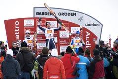 Winners Podium - Fis World Cup. The winner: Werner Heel (Italy), the second: Didier Defago (Switzerland), the third: Patrik Jaerbyn (Sweden) - Val Gardena Grö Stock Images