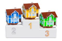 Winners podium with houses, 3D rendering. Isolated on white background Stock Photography