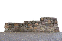 Winners podium. Made of stone, in front cobblestone, white background royalty free stock images