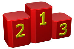 Winners podium with numerals. 3D rendering. Stock Photos