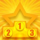Winners podium. Podium of winners and shining golden star royalty free illustration