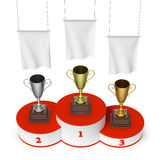 Winners podium with trophy cups and blank white flags top view. Sports winning, championship and competition success concept - winners trophy cups on round Royalty Free Stock Image