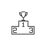 Winners podium with trophy line icon, outline vector sign, linear style pictogram isolated on white. Stock Images