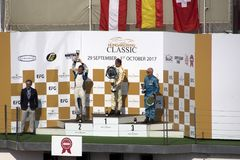 Winners race. Budapest, Hungary -September 30, 2017: Oldtimer event and races at the Hungaroring circuit on September 30, 2017 in Budapest, Hungary Royalty Free Stock Images