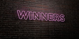 WINNERS -Realistic Neon Sign on Brick Wall background - 3D rendered royalty free stock image Stock Images