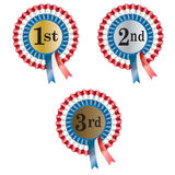 Winners rosette. A set of first, second and third placed rosettes Royalty Free Stock Photos