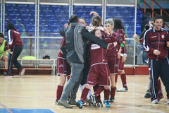 The winners. The salernitana futsal team is celebrating the victory of the italian cup futsal women.16/2/14 Stock Photography