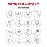 Winners and sport icon. Winner cup, medal award. Winners and sport icons. Winner cup, medal award and first place emblem. Bike, playing card with dice and Stock Photo