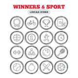 Winners and sport icon. Winner cup, medal award. Winners and sport icons. Winner cup, medal award and first place emblem. Bike, playing card with dice and Royalty Free Stock Photos