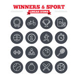 Winners and sport linear icons set. Thin outline. Winners and sport linear icons set. Winner cup, medal award and first place emblem. Bike, playing card with Royalty Free Stock Image