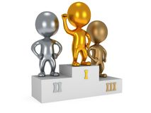 Winners on sports podium isolated on white. Winners on sports podium for the first, second and third place isolated on white. Stylized metal people raise hands Stock Image
