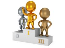 Winners on sports podium isolated on white. Winners on sports podium for the first, second and third place isolated on white. Stylized metal people raise hands Stock Photography