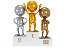 Winners on sports podium  on white Royalty Free Stock Images