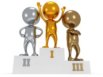 Winners on sports podium  on white Stock Image