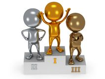 Winners on sports podium  on white. Winners on sports podium for the first, second and third place  on white. Stylized metal people raise hands up.  3D render Stock Image