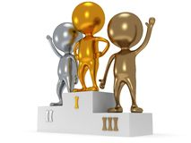 Winners on sports podium  on white. Winners on sports podium for the first second and third place  on white. Stylized people. Sport business concept. 3D render Royalty Free Stock Images