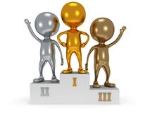 Winners on sports podium  on white Stock Photography