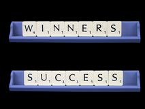 Winners and Success. Two seven letter words stock images