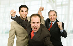 Winners. Three business men at the office winning Royalty Free Stock Images