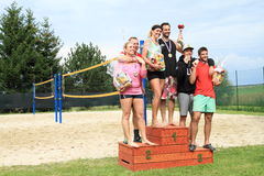 Winners of tournament in beach volleyball Stock Photo