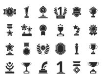 Winners trophies icons. Cups awards medals with ribbons vector black silhouettes isolated royalty free illustration