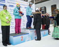 Winners of VI international childrens winter games from UFA Royalty Free Stock Photos