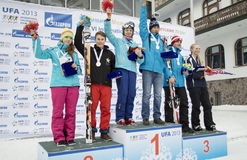Winners of VI international childrens winter games from UFA Royalty Free Stock Photo