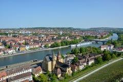 Winnicy blisko Marienberg roszują w Wuerzburg przy rzeką M fotografia royalty free