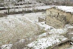 Winnicy opad śniegu w wiosce Zdjęcia Royalty Free