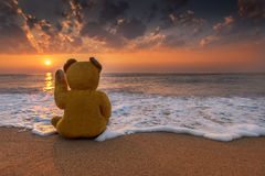 Winnie begroet de zonsopgang stock foto