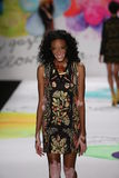 Winnie Harlow walks the runway at the Desigual fashion show during Mercedes-Benz Fashion Week Fall 2015 Royalty Free Stock Images